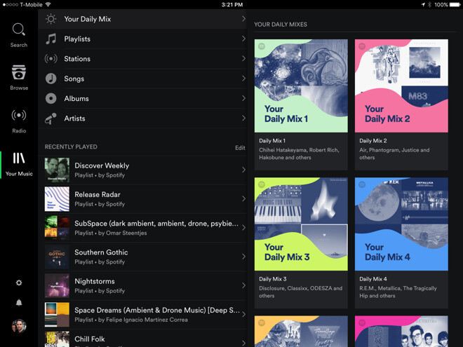 Spotify's new 'Daily Mix' mashup takes on Apple Music's 'For You' mixtape