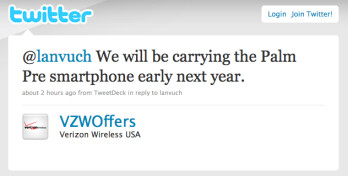 Verizon on Twitter: Palm Pre joins our line-up next year