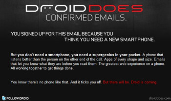 "UPDATED with video: Verizon's Motorola Droid site take a jab at the iPhone by saying ""iDon't DROID DOES"""