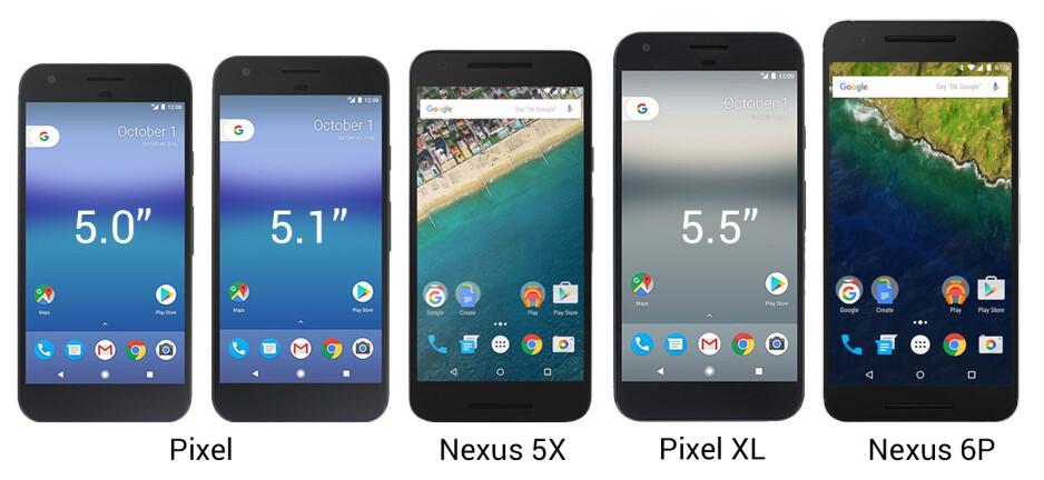Pixel and Pixel XL vs Nexus 5X and Nexus 6P: Size comparison