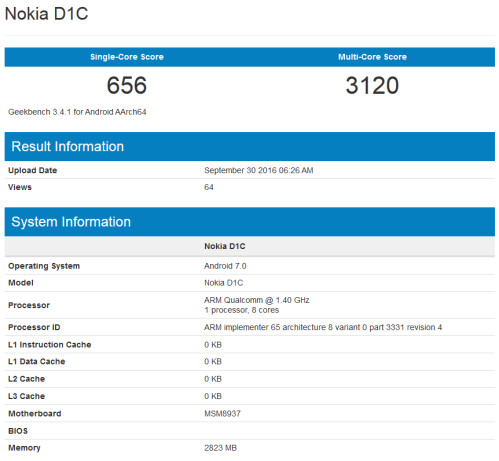 One of the scores from the Nokia D1C's Geekbench test