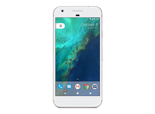 Google Pixel in white and Google Pixel XL in black