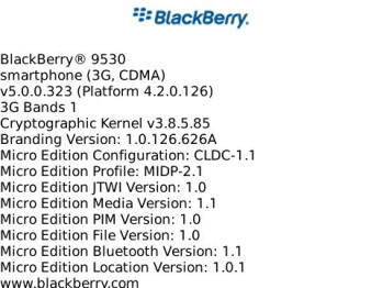 Leaked OS 5.0.0.323 for BlackBerry Storm 9530
