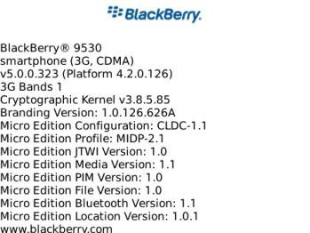 Leaked OS 5.0.0.323 for BlackBerry Storm 9530