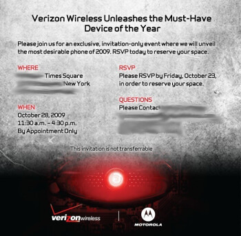 Motorola Droid to be showcased October 28th in NYC by Verizon