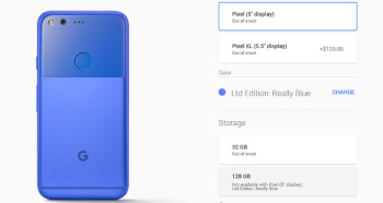 really blue pixel and pixel xl sold out at the google store