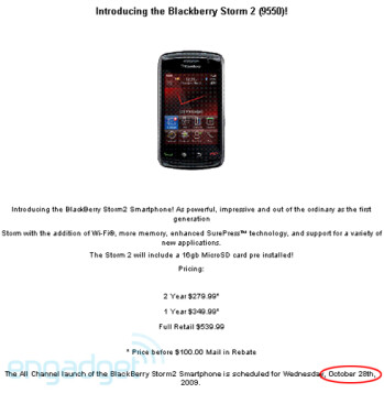 Verizon to launch BlackBerry Storm2 on October 28th for $179.99?