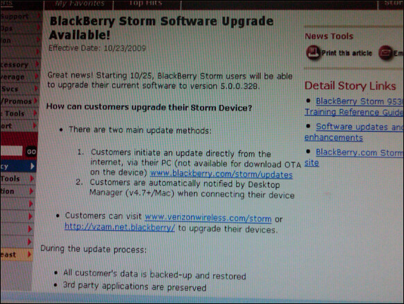 Updated:firmware os upgrade available sunday for blackberry storm.
