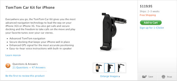 Apple Store now selling the TomTom iPhone kit