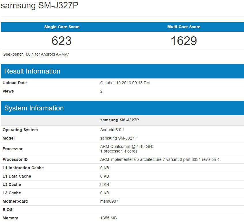 Samsung Galaxy J3 (2017) specs revealed in benchmark: Snapdragon 430 CPU, 2GB RAM, Marshmallow