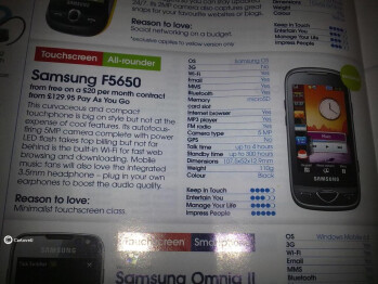 The Samsung F5650 got revealed in a magazine. Can this actually be the S5560?