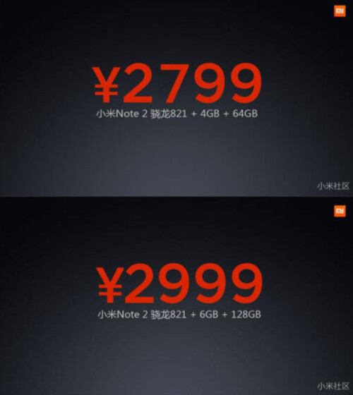 Pricing for both variants of the phablet
