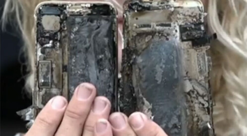 iPhone 7 catches fire, burns a car