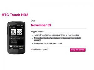 UPDATED:Android version of HTC Touch HD2 for T-Mobile U.K.