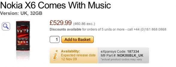 Nokia X6 hits the shelves November 12?