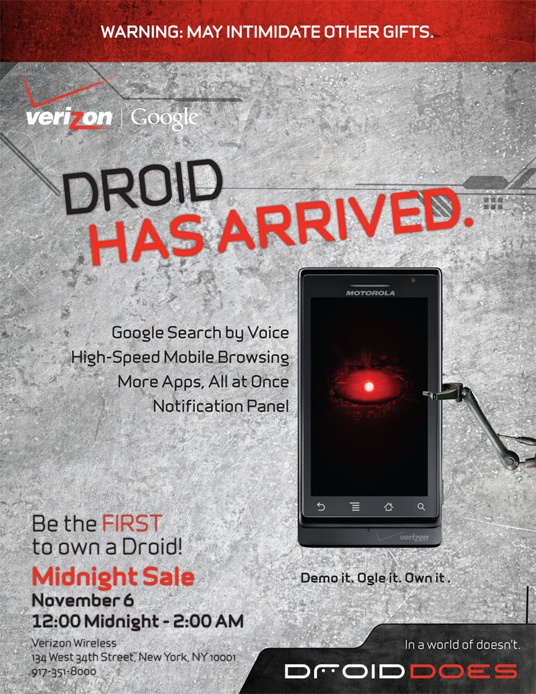 Verizon store in NYC will open at midnight for DROID launch