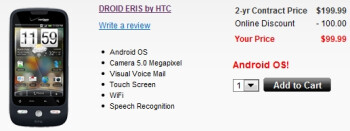 Motorola DROID and HTC DROID ERIS now for sale