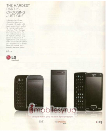 BestBuy Mobile catalog for Canada shows the LG IQ - Friday's News Bits