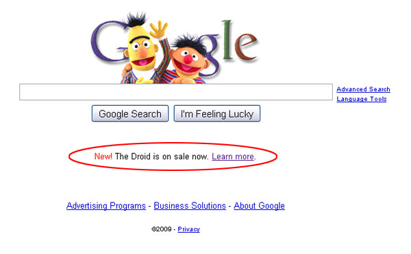 Ernie and bert wave hello as google puts droid ad on home page stopboris Gallery