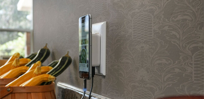 The Scosche MagicMount wall charger offers a convenient way to juice up your phone without tangled cords