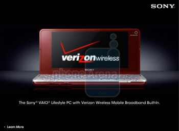 The Sony VAIO P netbook in an ad by Verizon Wireless