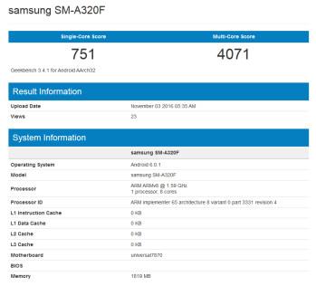 Samsung Galaxy A3 (2017) appears on Geekbench