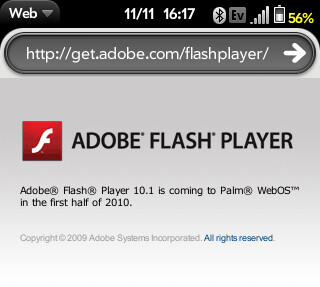 The Pre (L) has Flash 10.1 coming next year - Adobe's message on the Pre: Flash 10.1 coming to webOS first half of 2010