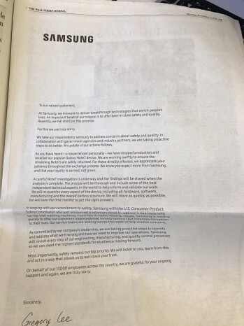 Samsung apologizes for the Galaxy Note 7 in full-page newspaper ads