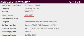 The Samsung Galaxy A3 (2017) receives its Wi-Fi certification