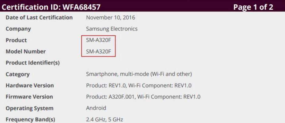 The Samsung Galaxy A3 (2017) receives its Wi-Fi certification - Samsung Galaxy A3 (2017) receives its Wi-Fi certification