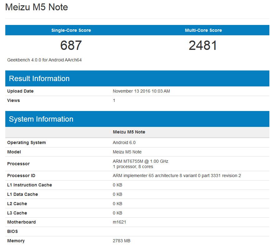 Meizu M5 Note appears on Geekbench...
