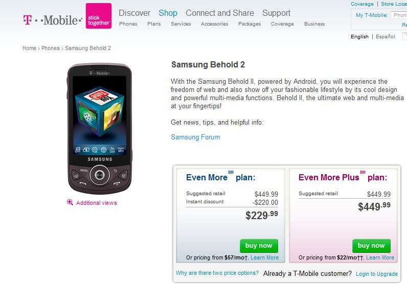 Lo and Behold II, T-Mobile launches Android powered Samsung sequel