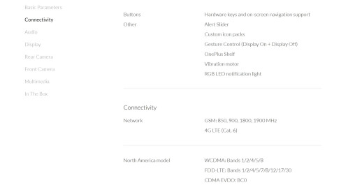 OnePlus 3T specs outed ahead of launch on OnePlus's official website
