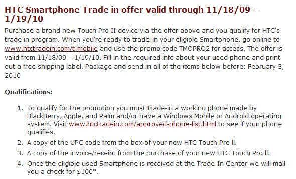 Get the T-Mobile Touch Pro2 for Free and receive $100 for your old smartphone