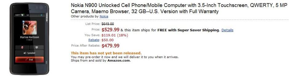 Amazon cuts Nokia N900 price to $480