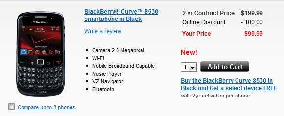 BlackBerry Curve 8530 now on sale at Verizon for $99.99 with 2 year deal