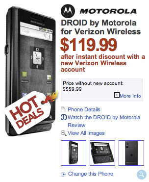 Motorola DROID gets price cut at Dell to $119.99 with 2 year contract