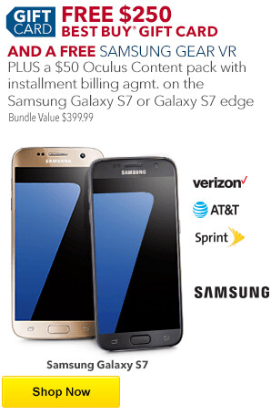deal purchase a samsung galaxy s7 and get a free 250 best buy gift card. Black Bedroom Furniture Sets. Home Design Ideas