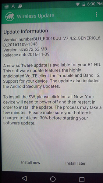 BLU R1 HD receives new update that adds T-Mobile VoLTE and band 12 support