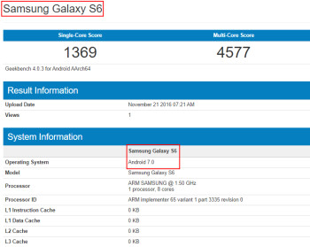 Galaxy S6 with Android 7.0 Nougat update build pops up on GFXBench