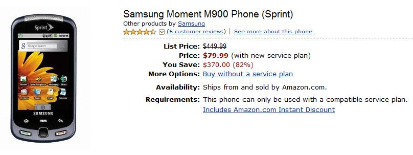 For the Moment, Amazon is $100 cheaper than Sprint