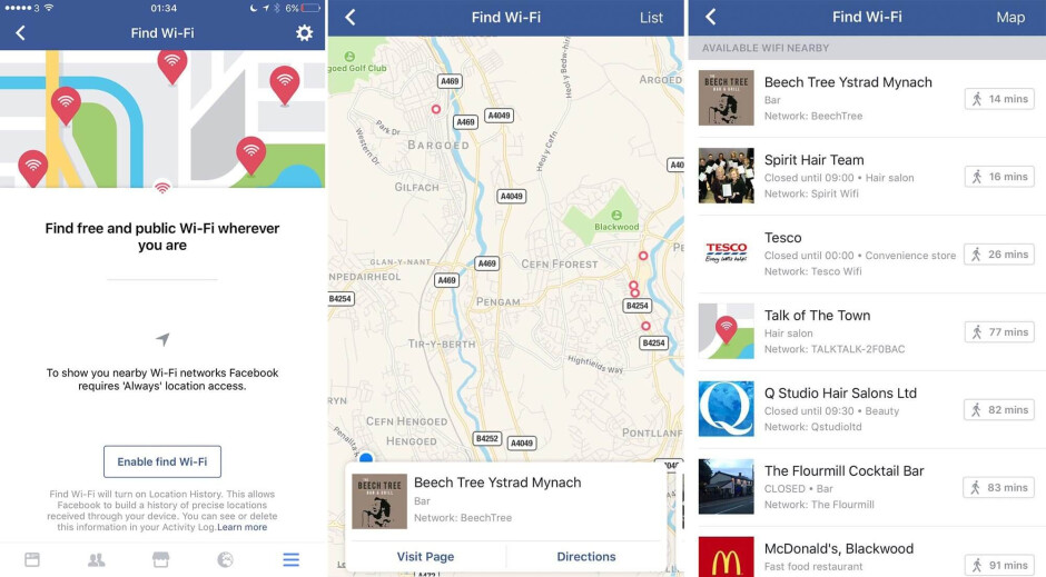 """Screenshots courtesy of Venture Beat - Facebook working on public Wi-Fi """"radar"""" for mobile app"""