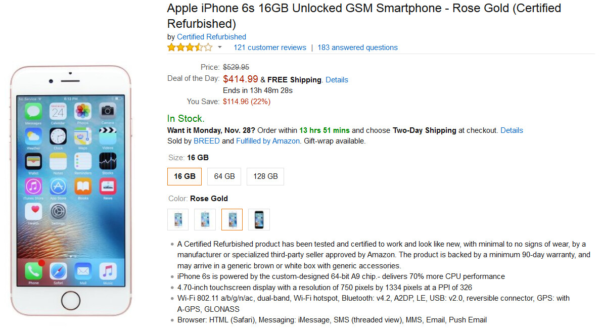 Refurbished IPhone 6s Models On Sale At Amazon