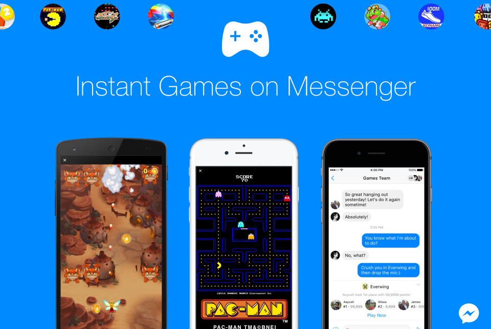 Facebook adds free games like 'Pac-Man' to Messenger app