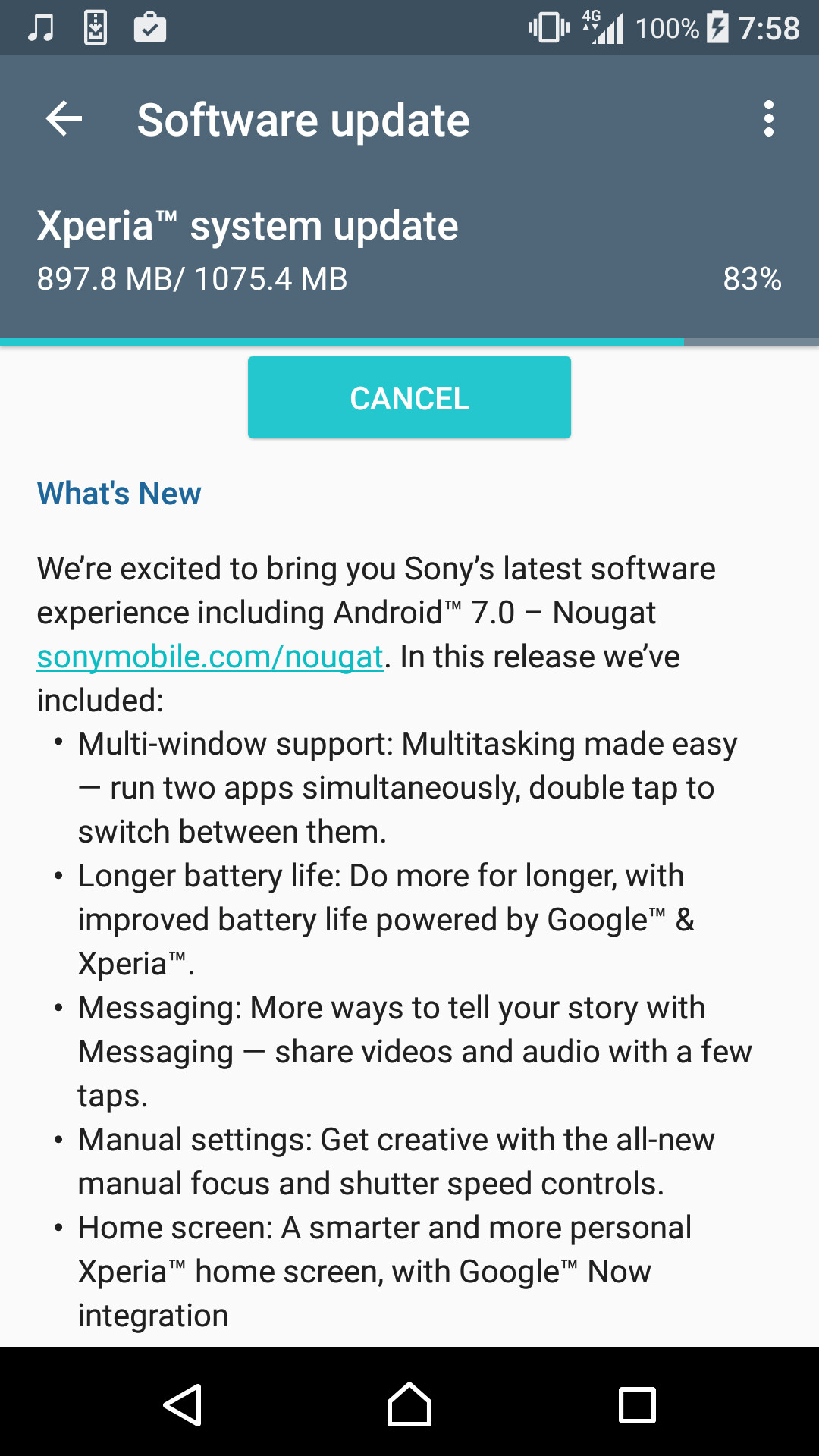 Sony Xperia XZ also getting Android 7 Nougat right now! - PhoneArena