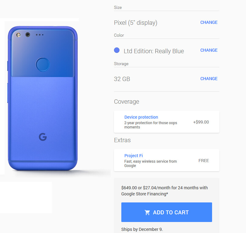 The Really Blue 32GB Google Pixel is back in stock at the Google Store - The Really Blue 32GB Google Pixel is back in stock at the Google Store