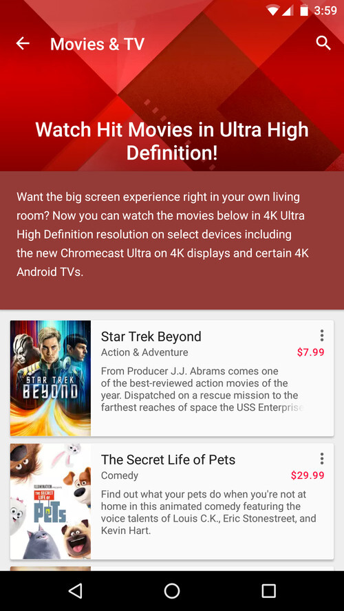 Google brings 4K movies and VR support to Play Movies & TV app for Android devices