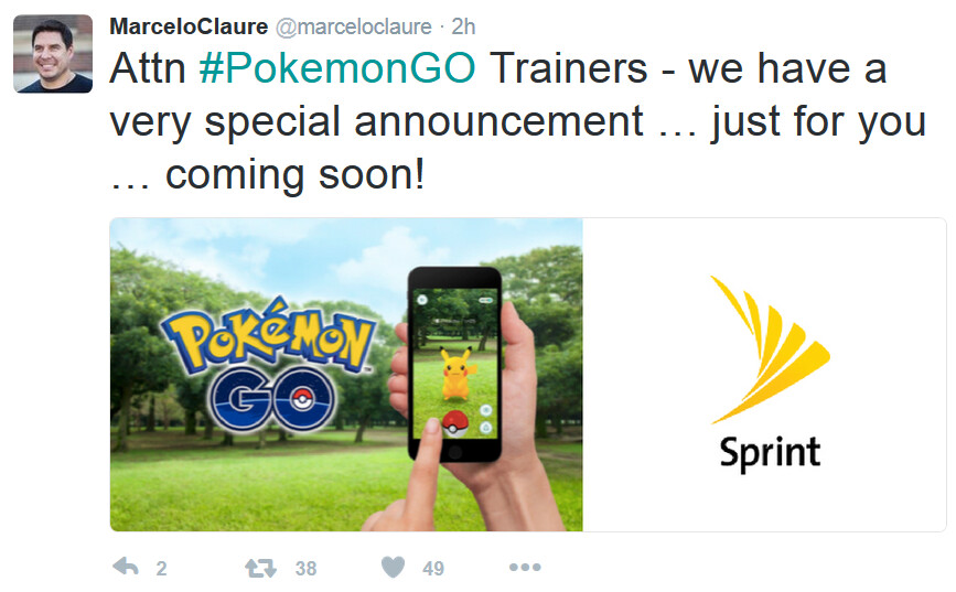 Sprint CEO Claure confirms that Sprint is involved in a Pokemon Go promotion