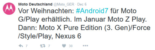 Tweets reveal when the unlocked version of certain Moto devices will receive the update to Android 7.0