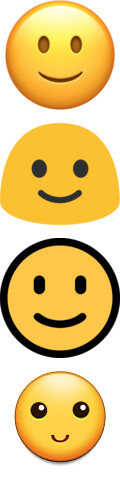 iOS, Google, Microsoft and Samsung (top to bottom) - Dummy guide to Emoji: History, Nature and Usage